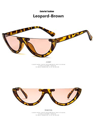 TYJYY Sunglasses Einzigartige Halbe Rahmen Frauen Cat Eye Sonnenbrillen Mode Damen Pink Tint/Clear...