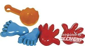 Gowi 558-56 - Juego de playa con moldes para la arena, forma de manos y pies (5 piezas en redecilla) importado de Alemania
