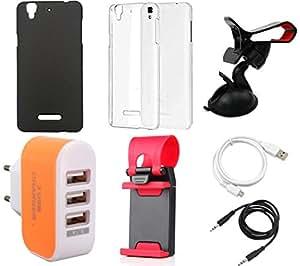 NIROSHA Cover Case USB Cable Mobile Holder Charger Combo for YU Yureka Combo