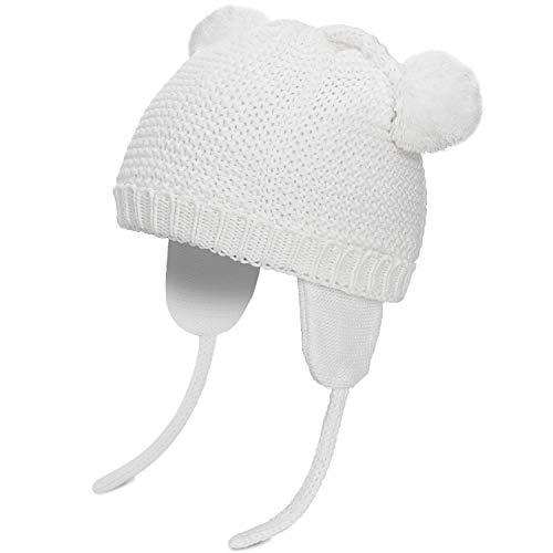 Hat Earflap Cap (CARETOO Baby Mütze Mädchen Jungen Unisex Kleinkind Elastisch Warm Strickmütze Pompom Hüte Hat Kinder Ski Earflap Caps für Winter Frühling Herbst)