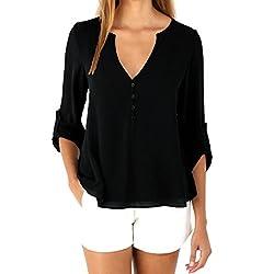 LIKELYY Womens Loose Long Sleeve Chiffon Casual Blouse Shirt Tops Fashion Blouse
