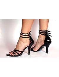 Sandalias de Tacón Alto Colo Negro Tallas Grandes para Travesti - Números 10.5 11.5 12.5 13.5 US - Negro, 45.5
