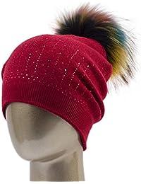ERQINGM Sombrero De Punto para Mujer Sombreros De Pompones para Mujer  Sombrero De Invierno con Gorro 944a80a060d