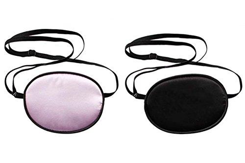 TININNA 2 Stück Kinder Piraten-Augenklappe,Seide Augen-Flecken behandeln Lazy Eye/Amblyopie/Strabismus EIN Patch, Augenmaske Augen für Kinder Faule Auge Amblyopie (Schwar + Rosa) EINWEG Verpackung (Für Erwachsene Schwarz Piraten Shirt Kostüm)