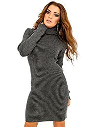 Glamour Empire. Women's Stretch Warm Polo Turtle Roll Neck Ribbed Knit Dress 417