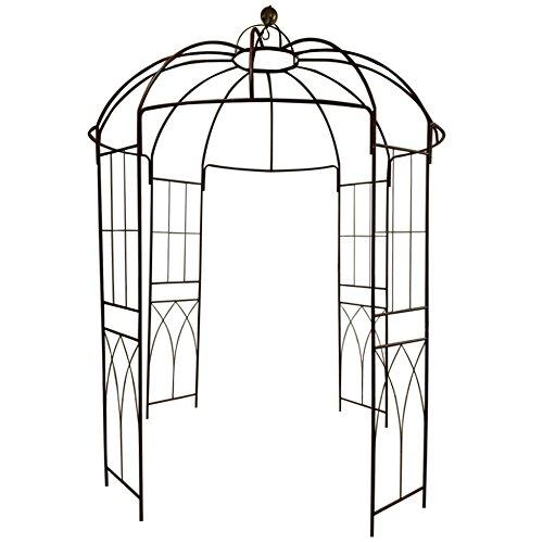 Galleria fotografica Outour®, gazebo a 4 lati a forma di gabbia per uccelli; traliccio ad arco in ferro battuto; gazebo, supporto per piante, viti e fiori