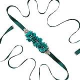 Haptian Para Mujer Elegante de Tres Flores Sash Rhinestone con Cuentas Cintura Nupcial Cinta Cummerbunds Vestido de Boda Cinturón de Cintura(Verde-Total Longitud: 270cm/106.30in-1trozo)