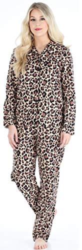 PajamaMania Damen Pyjama langärmlig Baumwolle Flanell Pyjama PJ Set - Braun - X-Small -