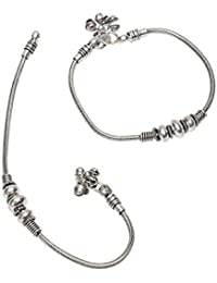 Prita Silver Metal Chain Anklet For Women