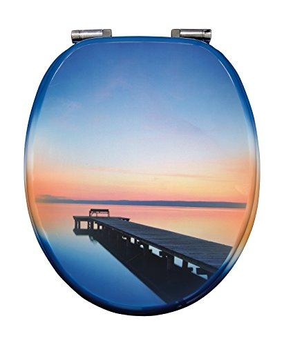 WC-Sitz Dekor Abendstimmung   Toilettensitz   WC-Brille aus Holz   Soft-Close-Absenkautomatik   Metall-Scharnier   Fast-Fix-Schnellbefestigung