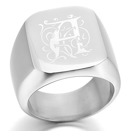 MeMeDIY Silver Tone Stainless Steel Ring Signet - Customized Engraving