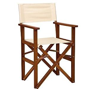 BUTLERS Hollywood Klappbarer Regiestuhl aus Holz 53x54x89 cm in Creme – Faltbarer Campingstuhl, FSC-Holz und Baumwolle