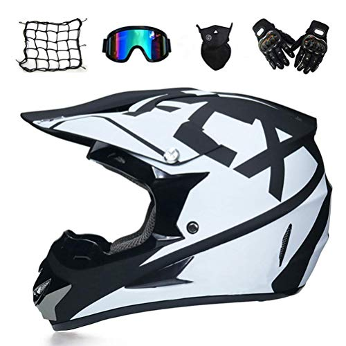 GL- Cross Helmet, Adulto Motocross Helmet Set con Occhiali da Vista Gloves Mask Net Casco, Integrale Face Motorcycle Crash Helmet MTB ATV off Road