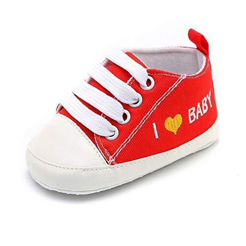 Niedlich Kind Baby Säugling Junge Mädchen weiche Sohle Kleinkind Schuhe Leinwand Sneak I Love Baby(0-6 Monat, Blau)