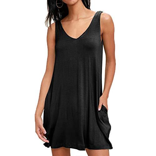 2 ( X ) Ist Tank-top (Frauen Damen Sommer ärmellose Solide Tank Top Kleide Casual Baumwolle Sommerkleid T-Shirt Kleide Beiläufige Bluse Longshirt, Schwarz, L)
