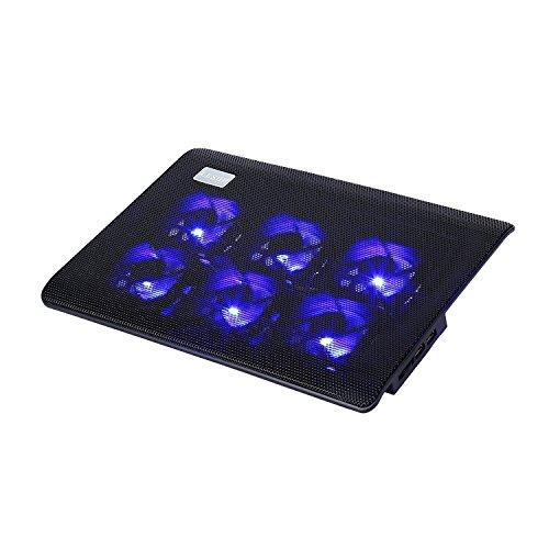 LESHP 15.6 Zoll Laptop Kühler mit 2 USB-Port 6 Lüfter Notebook Kühler Notebook Cooler Ständer Kühlpad Kühlmatte Cooling Pad