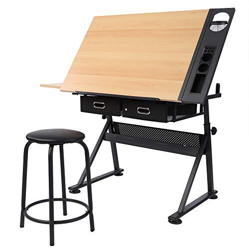 Cocoarm Höhenverstellbar Zeichentisch Schreibtisch Architektentisch Bürotisch Arbeitstisch Verstellbarer mit 2 Schubladen und Hocker 120 x 60 x 77.5cm - Verstellbare Bürotische