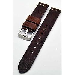 Uhrenarmband Ravenna XL extra lang braun 22mm Kalbleder 3893