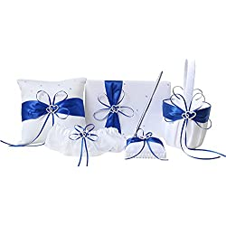 Conjunto color azul con cesta, cojín para anillos, libro de firmas y bolígrafo