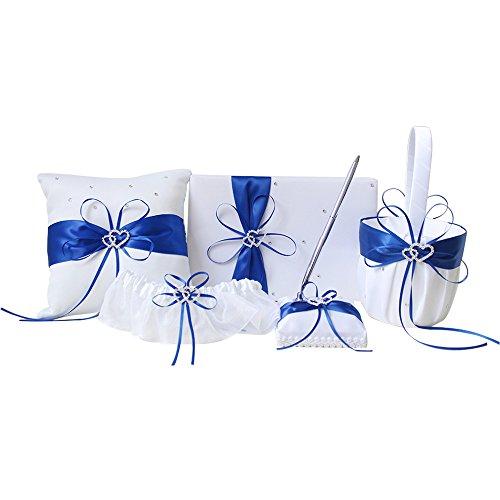amajoy5pcs Sets Hochzeit Gästebuch + Stift-Set + Blume Korb + Ring Kissen + Strumpfband, weiß, Double Heart Strass Decor Royal Blue Ribbon Schleife Elegante Hochzeitsfeier Party Favor - Ring-kissen Gästebuch,