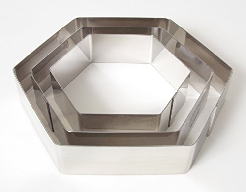 Profi Tortenring Set 6-Eckig ∅ 12, 15,5, 19 cm, Höhe 4 cm, Edelstahl