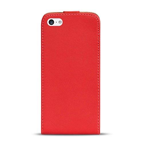 iPhone 4S , 4 PU Leder Hülle, Conie Mobile FlipCase, Klapptasche Handytasche Schutzülle Premium Fliptasche in Schwarz Rot