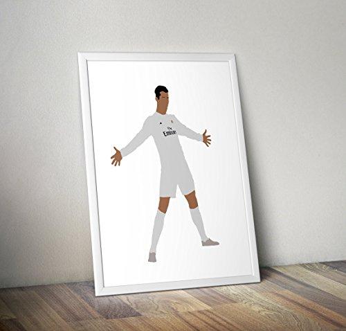 cristiano ronaldo Inspired football real madrid Obsequios para posters - Carteles de TV/películas alternativos en varios tamaños (Marco no incluido)