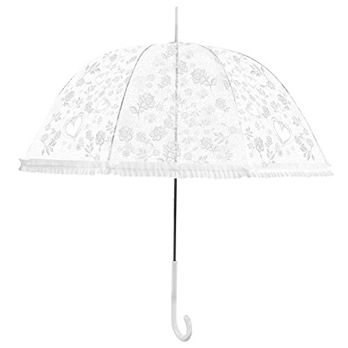 Becko White Stick Umbrella / Flower and Heart Pattern Clear Canopy Bubble Umbrella / Transparent Dome Shape Princess Style Rain Umbrella with Gradient J-handle for Wedding / Party / Camping