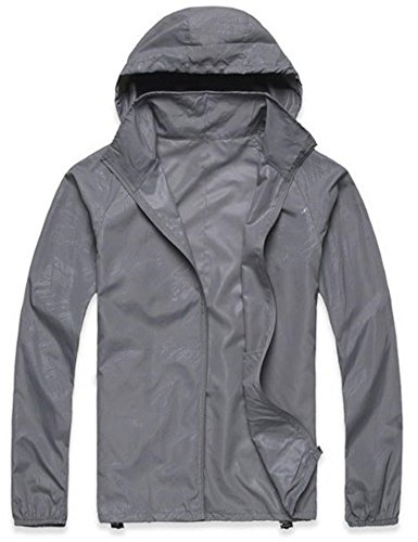 ZEARO Damen Herren Regenmantel Wetterschutzjacke Wasserdicht Winddicht Raincoat mit Kapuze Outdoor Sport Jacke Grau