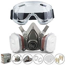 Respirador RHINO Máscara Antipolvo Reutilizable Máscara de Gas contra Polvo, Pintura, Productos Químicos, Lijado a Máquina, Formaldehído con Gafas de Seguridad, Filtro de Partículas Semi Máscara