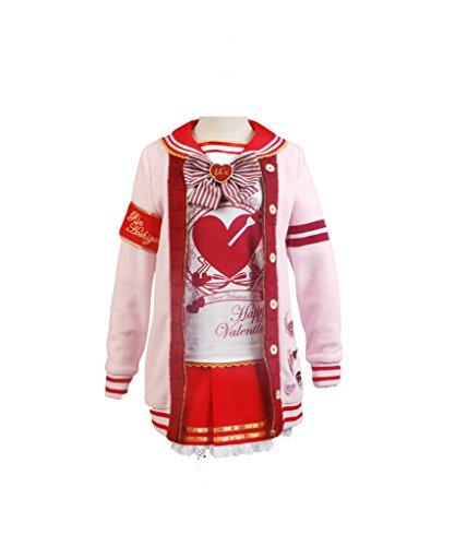 LoveLive! Valentine's Day Yazawa Nico Uniform Cosplay Kostüm Damen Rosa M (Yazawa Nico Kostüm)