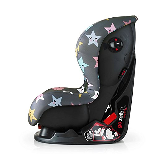 Cosatto Moova 2 Car Seat Group 1, 9-18 kg, Happy Hush Stars Cosatto Moova 2 is suitable from 9 kg-18 kg (9 months - 4 years approximatelyimately); it fits forward-facing with a standard 3-point vehicle seat belt It features the exclusive Five Point Plus Anti-Escape system, great for keeping little wrigglers in place, plus side impact protection for in-car security; the reclining padded seat gives on-board comfort It is easy to clean with removable squidgy padded liner and pop off seat covers-Moova 2 is their padded protector 3