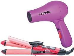 Nova NHS-800 Professional Straightener and curler with Nova Hair Dryer (Combo)