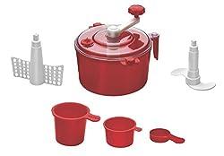 Floraware® 5-Piece Atta Dough Kneader Maker with Cut Chop Kitchen Set, Red