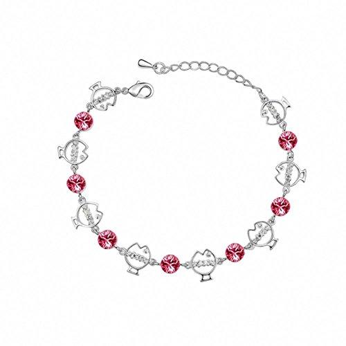 TAOTAOHAS austriaco cristallo catena Bracciali [ vita dei pesci, rosa ], 18KGP Rhinestone Regalo di giorno della madre