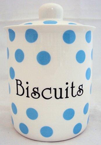 Bleu Clair Pois Pot à Biscuits en porcelaine Fine de bébé bleu décoré à la main pot à Biscuits en forme de U. K.-gratuite