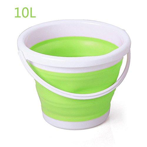 genialkiki 10L (2,6 Gallonen) Faltbarer, handlicher Kunststoffkorb Faltbare, quadratische Wanne Tragbarer Fischen-Wassereimer zum Waschen für Aktivitäten im Freien, Angeln und Camping (Waschen Fenster Aktivität)