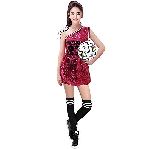 CLOTHES Frauenfußball-Cheerleader-Uniformen, schulterfreie Mädchen-Pailletten, Sport-Cheerleader-Teamuniformen, Sportkleidung für Damen