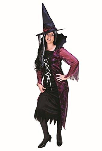 Hexenkostüm schwarz-bordeaux für Damen | Größe 40 | 1-teiliges Kostüm Hexe mit Hexenhut | Hexenkleid Faschingskostüm für Frauen | Märchenkostüm aus - Fee Die Böse Kostüm-ideen