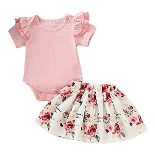 Infant Baby Mädchen Kleidung Set Kurzarm Rundhals Rose Print Strampler Rüschen Plissee Solid Color Rock Outfit Set 2 Stücke für 0-18 Monate (6-12 Monate, Rosa 2) - Süße Mädchen Röcke
