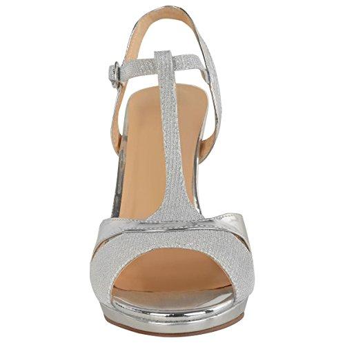 heelberry Donna Scarpe Eleganti da Cerimonia da Donna Medio Tacchi Alti Sposa luccicante Sandali Taglia Nuovo Argento metallizzato