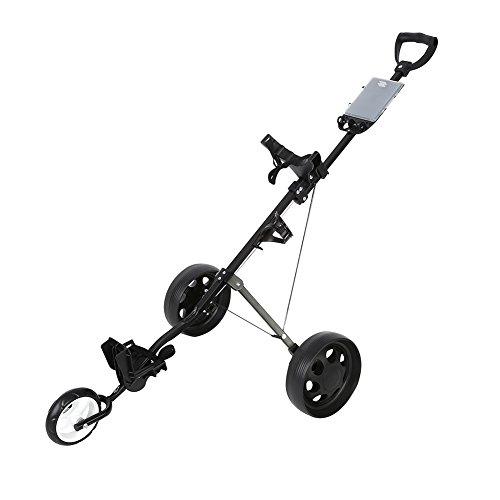 Zerone Push Golf Cart, Zusammenklappbar 3Rad Push Pull Golf Cart Trolley mit footbrake Drei Räder Drehbar -