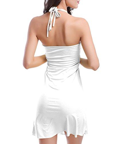 Damen Sommer Strandkleid sexy Neckholder-Kleid Bikini außerhalb Kittel Apfelgrün