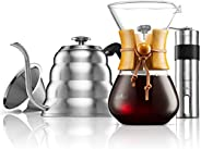 MITBAK Pour Over Coffee Maker Set | Kit Includes Gooseneck Kettle with Thermometer, Coffee Mill Grinder &