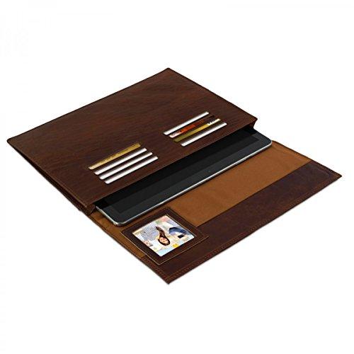 eFabrik Ledertasche für Samsung Galaxy Note Pro 12.2 (P900, P905) Design Schutzhülle Hülle Sleeve Cover aus Büffel Leder in Cognac Braun