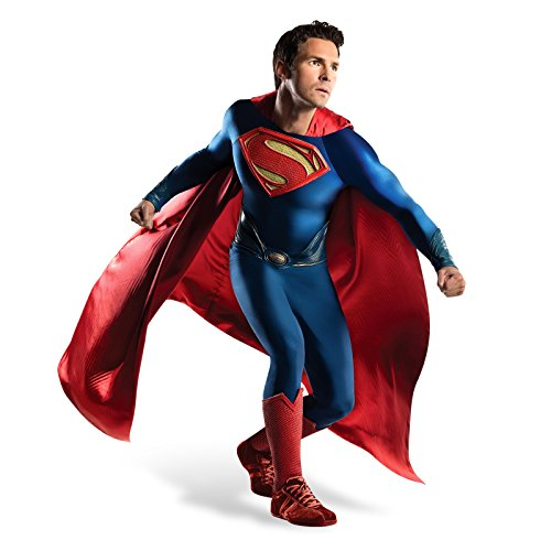 Superman Gürtel Kostüm - Superman Man of Steel Deluxe Film Kostüm Herren 4-tlg Jumpsuit Cape Gürtel Stulpen DC Comics - XL