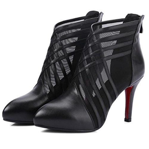 W&LM Signorina Tacchi alti sandali vera pelle sandali Trasparente Sandali di filati netti Chiusura lampo dopo Tacchi alti Black