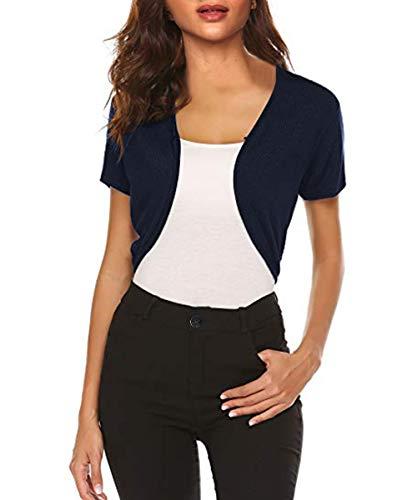TrendiMax Damen Bolero Kurz Cardigan Strickjacke Lässiges Langarm Top Schulterjacke (Blau Kurze, L) (Rosa Mädchen Für Damen-jacke)