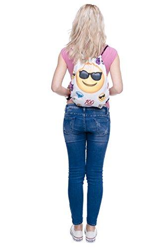 Imagen de fullprint, bolsa  con cordón, para hombre, mujer o niños, para la escuela, como bolso de mano o para el gimnasio multicolor emoji thug uno talla  alta 40 cm/longitud 33 cm alternativa