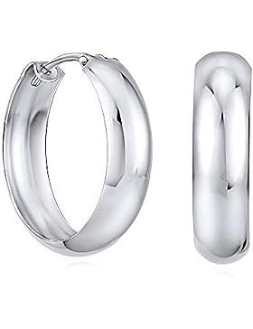 Silberohrringe Creolen breit Sterling Silber 925 rhodiniert